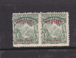 Cook Islands -Aitutaki SG 1 1903 Half Penny Green Pair Mint - Cookeilanden