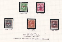 Cook Islands -Aitutaki SG 19-23 1917-20 Definitives Perf 14x15 Mint Light Hinged - Cook Islands