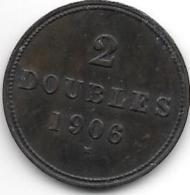 *Guernsey 2 Doubles 1906  Km 9 Vf+ - Guernesey