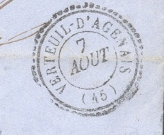 LOT ET GARONNE 47 VERTEUIL D'AGENAIS Tad Type 22 Du 07/08/1860  PC 3540 Sur N° 14 TTB Ind17 - Marcophilie (Lettres)
