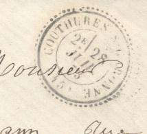LOT ET GARONNE 47 COUTHURES SUR GARONNE Tad Type 24 Du 28/07/1873  GC 4407 Sur N° 60 Boite Rurale A Non Ident TTB Ind14 - 1849-1876: Classic Period