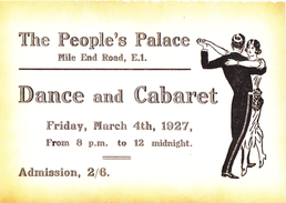 The People's Palace Mile End Road London E1 Dance And Cabaret 1927 Modern Unused Card - Dance