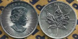 CANADA $5 QEII HEAD FRONT MAPLE LEAF & MINT MARK BACK AG SILVER 1Oz 2014 UNC READ DESCRIPTION CAREFULLY !!! - Canada