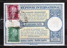 ARGENTINA 1953 COUPON REPONSE INTERNATIONAL EVA PERON EVE USATO USED OBLITERE´ - Interi Postali