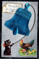 CPA CHAT CAT A SYSTEME AJOUTIS DECOUPIS CHROMO PAQUES Chat Noir Grosse Cloche Poule Poussins à Soulever-#157 - Chats
