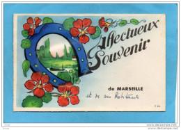 MARSEILLE-carte à Système-accordéon Photos -dans Fer à Cheval- Porte Bonheur-a Voyagé En 1945 - Móviles (animadas)