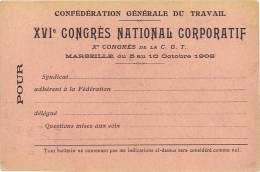 Carte Verso Vierge - Marseille, XVIe Congrès CFDT, Syndicat - Publicité