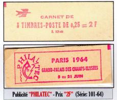 """Coq De Decaris 0,25 F -  1331-C3** (Carnet 8 T. -Publicité PHILATEC - Série 101-64 Avec Mention """"5 Au 21 Juin"""") - Usage Courant"""