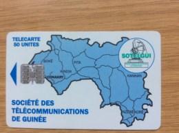 50u. Guinea Worldmap Chip -  Fine Used Condition - Guinea