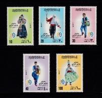 Libya, (Sc # 595-99), MNH, (Set Of 5), National Costumes--14th International Fair (1976) - Libia