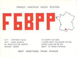 Amateur Radio QSL Card - F6BPP - Ceret, France - 1974  - 2 Scans - Radio Amateur