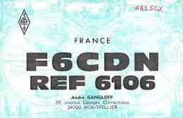 Amateur Radio QSL Card - F6CDN - Montpellier, France - 1975 - 2 Scans - Radio Amateur