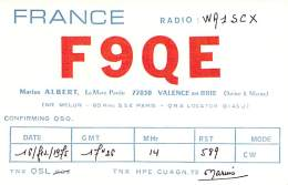 Amateur Radio QSL Card - F9QE - Calence En Brie, France - 1975 - Radio Amateur