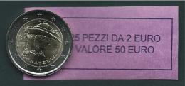 ITALIA 2016 - ROLL 2 EURO COMMEMORATIVO DONATELLO  ORIGINALE ZECCA - DATA VISIBILE - FDC - Rotolini