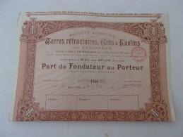 TERRES REFRACTAIRES,GRES & KAOLINS DU FINISTERE  (fondateur) RIEC SUR BELON - Actions & Titres