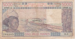 BILLETE DE COSTA DE MARFIL DE 5000 FRANCS DEL AÑO 1985  (BANK NOTE) - Costa De Marfil