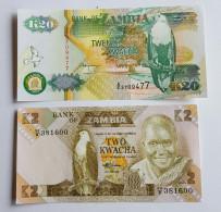 Banque Du ZAMBIE Lot De 2 Billets Neufs Two Et Twenty Kwacha Voir Les 2 Photos - Zambia