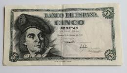 Banque D' ESPAGNE Cinq Pésétas Du 5 Mars 1948 Joli Voir Les 2 Photos - [ 3] 1936-1975 : Régence De Franco