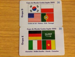 2 Nice Brasil Cards With Football - World Games 2002 - 30 Units - Sport