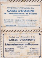 376  BUVARD Lot 2 Pieces CAISSE EPARGNE BAYONNE BIARRITZ  Rousseurs - Bank & Versicherung