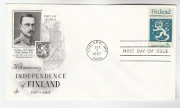 1967 Art Craft USA FDC Stamps FINLAND HERALDIC LION  Pmk FINLAND MN  Cover Illus Map - First Day Covers (FDCs)