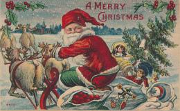 A MERRY CHRISTMAS - SANTA ON SLED WITH MANY TOYS, RAINDEER, HOLLY, DOLLS - # 6605 - Santa Claus