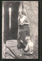 CPA Land Et Leute Aus Der Haide, Mutter Et Sohn Beim Stricken - Postcards