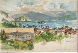 53648 ITALY ART SIGNED STRESA VERBANO SCHOOL ROSMINI & VIEW PARTIAL POSTAL POSTCARD - Italia