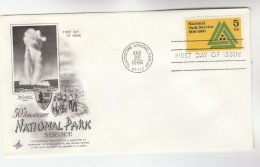 1966 Art Craft USA FDC Stamps NATIONAL PARK Pmk YELLOWSTONE NATIONAL PARK Cover OLD FAITHFUL Volcano - Volcanos