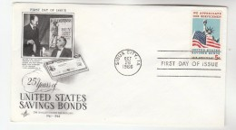 1966 Art Craft USA FDC Stamps SAVINGS BONDS STATUE OF LIBERTY Pmk SIOUX CITY Cover  Finance Banking - First Day Covers (FDCs)