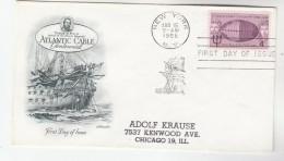 1958 USA FDC Stamps ATLANTIC TELEGRAPH CABLE NEPTUNE GOD Artmaster Cover Sailing Ship Telecom - Telecom