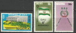 NIGERIA  1973  10th ANNIVERSARY OF OAU SET MNH - Nigeria (1961-...)