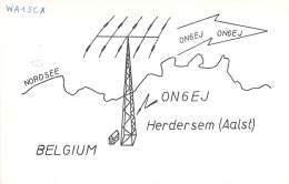 Amateur Radio QSL Card - ON6EJ - Herdersem, Belgium - 1975 - 2 Scans - Radio Amateur