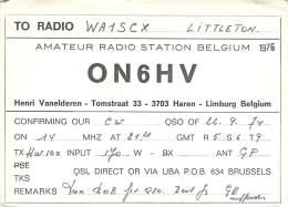 Amateur Radio QSL Card - ON6HV - Limburg, Belgium - 1974 - Radio Amateur