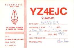 Amateur Radio QSL Card - YZ4EJC Radio Club - Jajce, Yugoslavia - 1975 - Radio Amateur