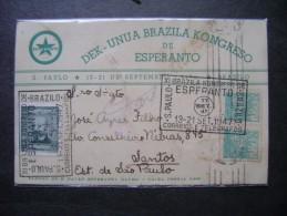 ESPERANTO - RARE CARD OF Circulated XI BRAZILIAN CONGRESS OF ESPERANTO IN 1947 AS - Esperanto