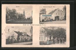 AK Nieder-Langenau, Bäckerei A. Mai, Ww. Melzer's Warenhandlung, Post - Deutschland