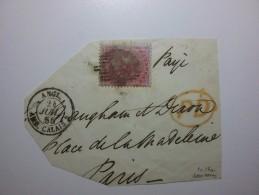 55 Gran Bretagna Yvert 17a Firmato Perito? 1856 4 Pence Frammento - 1840-1901 (Regina Victoria)