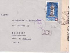 Busta Con Lettera  Da S. Moritz A Bolzano 22/8/1940   Censurata Con 30c. Croce Rossa Isolato  B966 - Suisse
