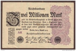 LOT 2 BILLETS: BRASIL 1 CRUZEIRO ND  /  GERMANY 2 MILLIONEN 1923 - Monnaies & Billets