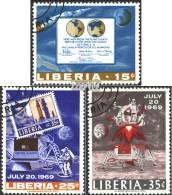 Liberia 725A-727A (kompl.Ausg.) Gestempelt 1969 Erste Bemannte Mondlandung - Liberia
