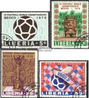 Liberia 739A-742A (kompl.Ausg.) Gestempelt 1970 Fußball-WM '70, Mexiko - Liberia