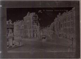 RARE - NEGATIF EN VERRE ( 18 X 13cm ) * BRUXELLES ETTERBEEK - AVENUE DE LA CHASSE - TRAM - Etterbeek