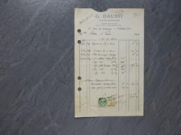 G. DAUSSY Graveur Paris, Facture  Autographe  Timbrée 1927; Ref 836 VP17 - Autographs