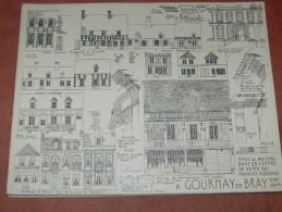 GOURNAY EN BRAY  ARCHITECTURE /1CROQUIS LAPRADE DE 1940 / RUE FERRIERE / MAISONS D OUVRIERS  / FORMAT 31X24 CM - Architecture
