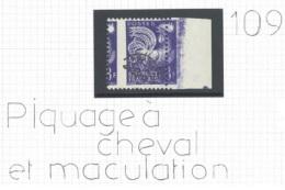 Préo ** 109 Coq Gaulois - Belle Variété Piquage à Cheval ET Maculations Avec Bdf - Precancels