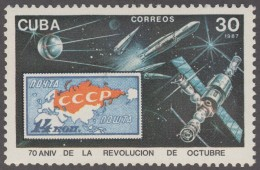1987.37 CUBA 1987 MNH. Ed.3305. 70 ANIV DE LA REVOLUCION DE OCTUBRE. RUSIA RUSSIA ESPACIO. SPACE. COSMO. - Nuevos