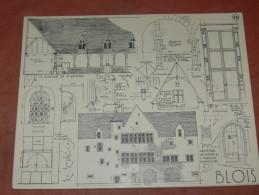 BLOIS  / ARCHITECTURE/ 1CROQUIS LAPRADE DE 1940 / GRENETERIE DES MOINES / CIMETIERRE ST SATURNIN  FORMAT 31X24 CM - Architecture