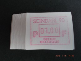 SCINDAFIL ´90. C Papier. Dienst / VS Nieuwe Cijfers. 50 X - Automatenmarken (ATM)