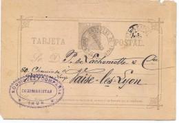 LCIRC2- ESPAGNE EP CP IRUN / VAISE LES LYON JUIN 1889 AMBULANT - Entiers Postaux
